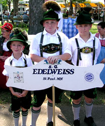 Photographs of three youth dancers in the S.G. Edelweiss St Paul German Folk Dance Ensemble.  Booking and Contact Information Page